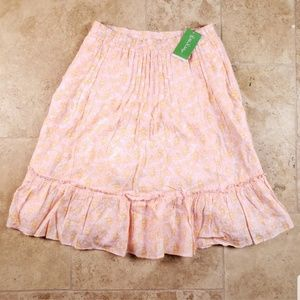 NWT Lilly Pulitzer Ruffle Flare Skirt Linen XS